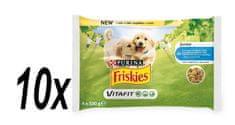 Friskies karma dla szczeniąt, saszetki JUNIOR Dog multipack z kurczakiem i groszkiem w galarecie 10x (4x100g)
