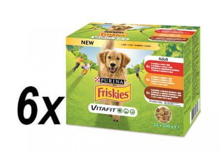 Friskies karma ADULT Dog multipack wołowina / kurczak / jagnięcina w galarecie 6x (12x100g)