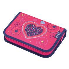 Herlitz Plný peračník srdce ružové, 2 chlopne
