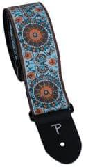 Perris Leathers 7143 Jacquard Oriental Turquoise Gitarový popruh