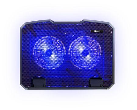 """C-Tech Chladící podložka C-TECH CLP-140, 15,6"""", 2x 140mm, 2x USB, modré podsvícení"""