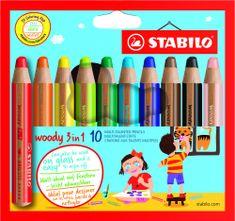 Stabilo Woody színes ceruza, 10 szín, maxi, 3 az 1-ben