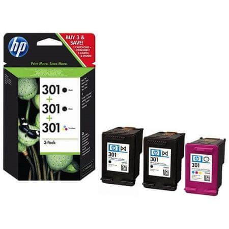 HP komplet črnil 301, 2 x črna, 1 x barvna