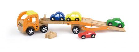 Viga drewniana laweta z samochodami
