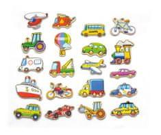 Viga Dřevěné magnety 20 ks - dopravní prostředky