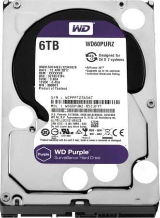 """WD trdi disk Purple 6 TB, 8,89 cm (3,5""""), SATA 6 GB/s, 64 MB"""