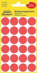 Avery Zweckform okrogle markirne nalepke 3004, 18 mm, 96 kosov, rdeče