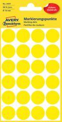 Avery Zweckform okrogle markirne nalepke 3007, 18 mm, 96 kosov, rumene