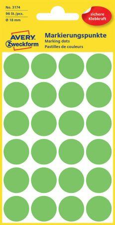 Avery Zweckform okrogle markirne etikete 3174, 18 mm, 96 kosov, neonsko zelene