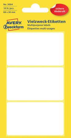 Avery Zweckform večnamenske biro etikete 3084, 66 x 38 mm, 18 kosov, bele