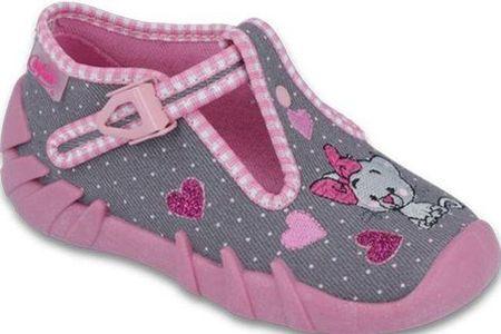 Befado dívčí bačkůrky s kočičkou Speedy 19 růžová/šedá