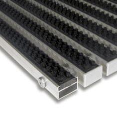 FLOMA Černá hliníková kartáčová venkovní vstupní rohož Alu Super, FLOMA - 2,2 cm