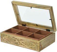 Koopman Dřevěný box na čaj, 6 přihrádek
