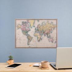 Crearreda dekorativna stenska nalepka Vintage zemljevid, L