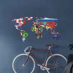 Crearreda dekorativna stenska nalepka Zemljevid zastav, L