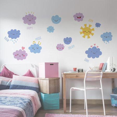 Crearreda stenska dekorativna nalepka Veseli oblaki, XL