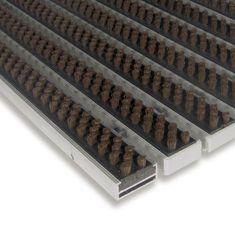 FLOMA Hnědá hliníková kartáčová venkovní vstupní rohož Alu Super, FLOMA - 1,7 cm