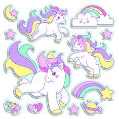 Crearreda stenska dekorativna nalepka Lovely Unicorns, L