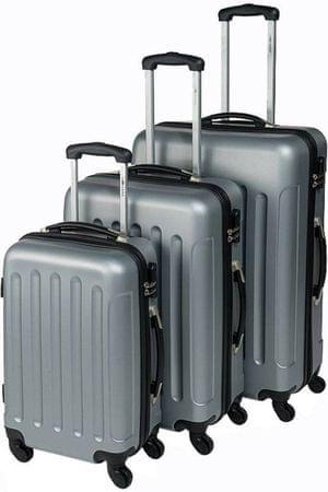 Leonardo ABS Trolley 3 részes Bőrönd szett, Szürke