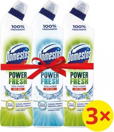 Domestos Total Hygiene Lime Fresh WC gel 2x 700 ml + Ocean Fresh 750 ml