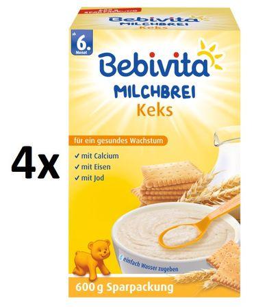 Bebivita Mléčná kaše sušenková - 4 x 600g