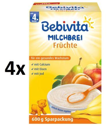 Bebivita Mliečna kaša ovocná - 4 x 600g