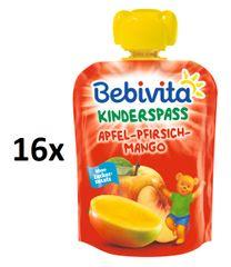 Bebivita Ovocná kapsička, Jablko, broskyňa, mango - 4 × 4 × 90g