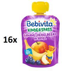 Bebivita Ovocná kapsička,Jablko, banán, čučoriedky - 4 × 4 × 90g