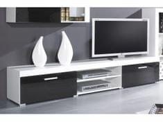 Televizní stolek KAIDEN, bílá/černý lesk