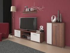 Obývací stěna LAWSON 3, švestka/bílá