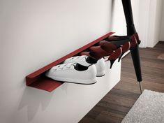Mørtens Furniture Nástenná polica na topánky Sko, 85 cm, červená