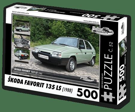 RETRO-AUTA© Puzzle č. 52 - ŠKODA FAVORIT 135 LS (1988) 500 dílků