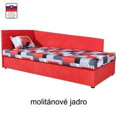 Celočalúnená váľanda s molitánovým matracom, ľavá, červená/vzor, EDVIN 4 LUX