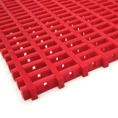 Červená olejivzdorná protiskluzová průmyslová univerzální rohož (mřížka 22 x 10 mm) - 1,2 cm