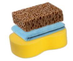 KAJA Súprava na umývanie auta, 3 ks: 1 x utierka mikrovlákno, 1 x špongia, 1 x špongia Premium na odolné nečistoty