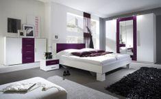 WILDER postel 180x200 cm s nočními stolky, bílá/fialová