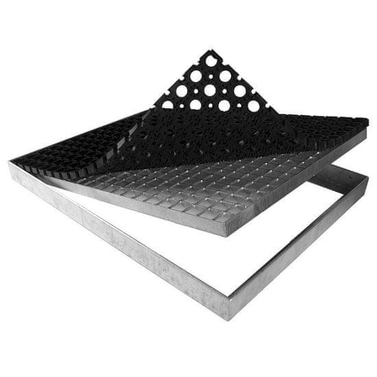 FLOMA Kovová rohož ze svařovaných podlahových roštů s gumou bez pracen Galva - 151,5 x 43 x 6 cm