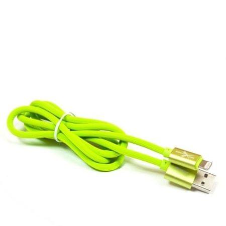 EXTREME STYLE Silikonový USB kabel Apple Lightning, zelený, 100 cm