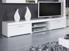 Televizní stolek KAIDEN, bílá/bílý lesk