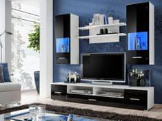 LANDRY, obývací stěna, bílá/černý lesk