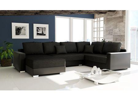 Rohová sedačka STILLO 2, univerzální, černá látka/černá ekokůže