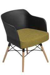Mørtens Furniture Křeslo s područkami Livet, černá/olivová