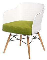 Mørtens Furniture Křeslo s područkami Livet, bílá/olivová
