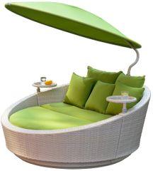 Igotherm łóżko ogrodowe z parasolem słonecznym SHELL - szare