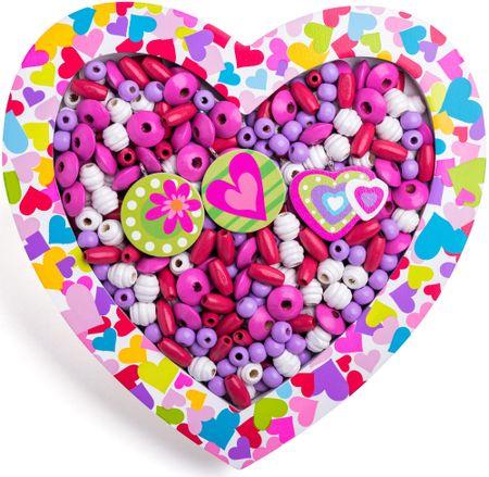 Woody Navliekacie korálky - Srdce