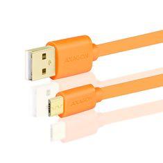 AXAGON przewód USB 2.0 BUMM-AM10QO, 1 m, pomarańczowy