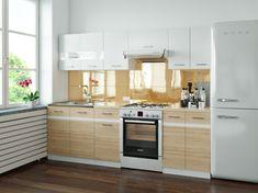 Kuchyně JUNONA 180/240 cm, bílý lesk/dub san remo světlý
