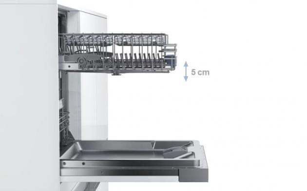 Vestavná myčka nádobí Bosch SPV46IX07E systém rackMatic s plným výsuvem