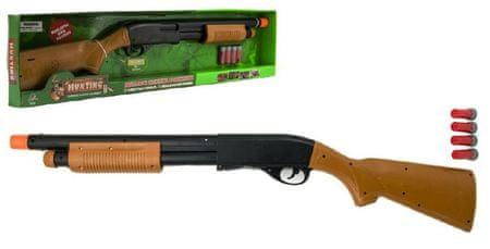 Teddies Pistole/Brokovnice lovecká plast 76cm na baterie se zvukem v krabici