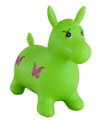 Teddies Skaczący gumowy koń zielony 49x43x28 cm w torbie